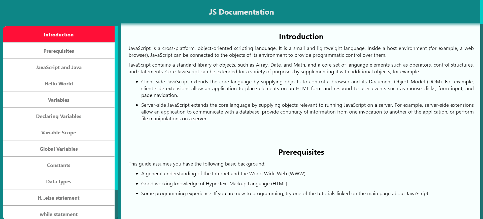 JavaScript Documentation project snapshot